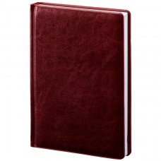 Щоденник недатований А5, блок білий, Саріф, колір бордовий